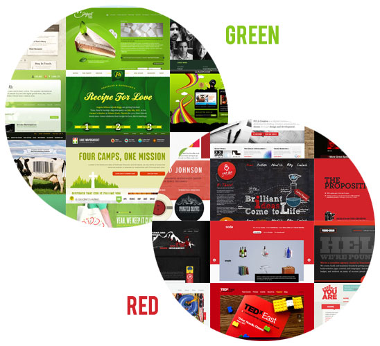 Green and Red Complementary Colours